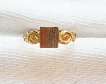 Estate Genuine 10K Yellow Gold Vintage Victorian Signet Baby Girl Boy Ring sz 2.75 Pinky Midi 10 k kt Child Engravable Name Initials Dainty