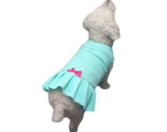 Adorable Turquoise Dog Dress Dog Apparel Dog Clothing Made in USA for Small Dog Only