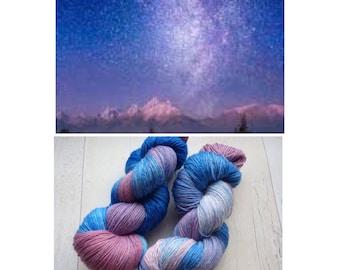 Shooting Stars 4 ply sock yarn purple blue hand dyed indie yarn