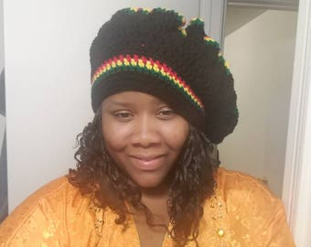 African Crocheted Beret Hat
