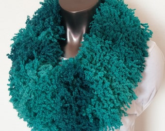 Fluffy Turquoise Knit Infinity Scarf