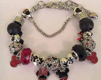 Black and red Mickey and Minnie European charm bracelet