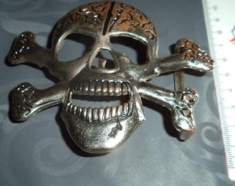 belt buckle in silver metal skull width from 5 cm