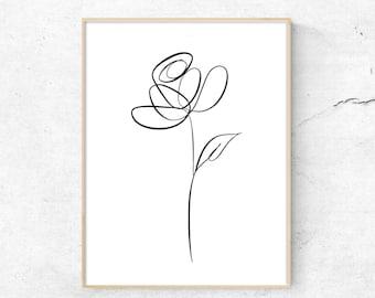 Botanical Line Art, Botanical Line Drawing, Line Art print, Minimalist Wall Art, Digital Wall Print, Modern Minimalist, Line Art Drawing