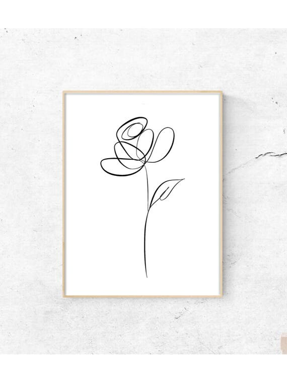 Line Drawing Etsy : Botanical line art drawing print