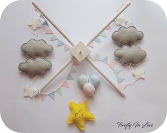 Baby Mobile - Baby Crib Mobile - Nursery Mobile Clouds – Stars and Clouds Mobile – Pastel Baby Mobile – Hanging mobile – Balloons Cot Mobile