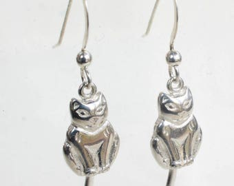 Sterling Cat Earrings Movable Tail Swinging Cats Wires