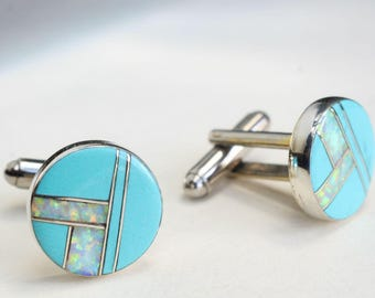 Sterling Silver Cuff Links Turquoise Opal Inlay Navajo Indian Native American