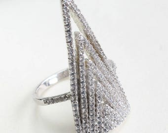 Sterling Silver Ring Cubic Zirconia CZ Crystals Rhodium Plated Cocktail