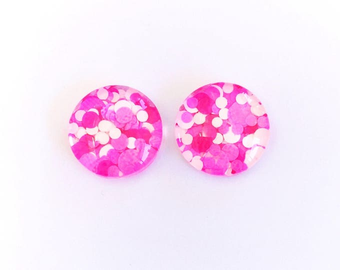 The 'Pink Panther' Glitter Glass Earring Studs