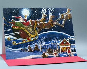 Greeting card and hop, the night takes flight! F-007