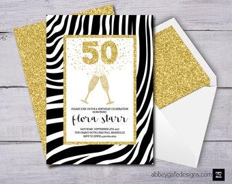 50th Birthday Invitation, 50th Birthday Invite, 30th Birthday, 40th Birthday, 60th Birthday, Zebra Print Invite, Champagne Birthday Invite