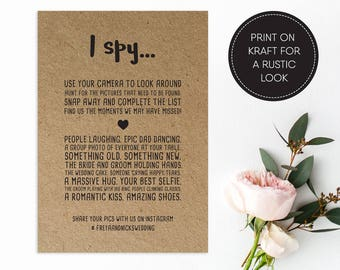 Printable I Spy Wedding Game/ Wedding Games/ Wedding Hashtag/ Wedding Reception/ Photo hunt/ I Spy/ Freya suite #042
