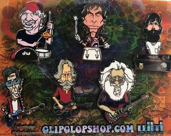 Grateful Dead, Band member, Pin Set, 6 pins,Jerry Garcia,Bob Weir, Phil Lesh,Brent Mydland,Bill Kreutzman,Mickey Hart,gift set, deadhead