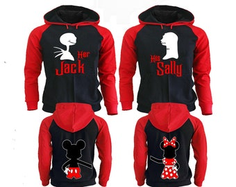 His Jack Her Sally Hoodies, Disney Couple Hoodies, Pärchen Pullover Couple Hoodies Mickey, Couple Hoodies King And Queen Couple Sweaters