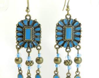 "Earrings ""Indiana"", hook bronze metal frame, made by hand."