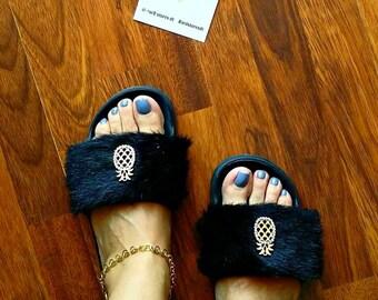 Slides, Summer sandals, Fluffy slides, Faux fur slides, Fashion slippers, Flat sandals, Black slippers, Pineapple buckle furry slides!