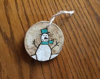 Wood slice, winter, snow snowman Christmas painted