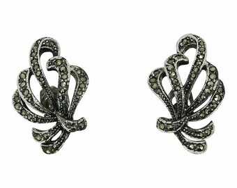 1950s Marcasite Bow Vintage Earrings
