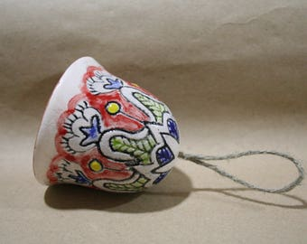 Unique ceramic bell, Flower bell, Flowers, Handmade bell, Ornament, folk style, Ethno, Flower Pattern, ethnic, floral pattern
