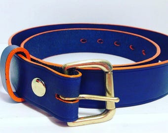 Blue Leather Belt with an Orange edge 38mm