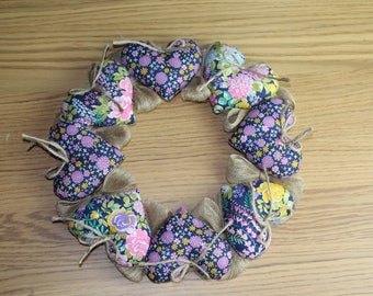 Shabby Chic Floral Heart Wreath
