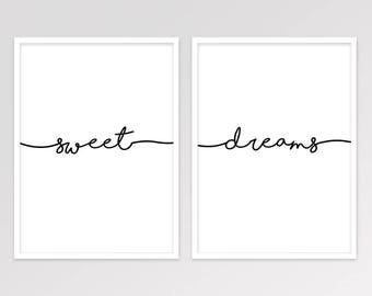 Sweet Dreams Print, Set of 2 Bedroom Decor, Scandinavian Minimalist Wall Art, Scandi Typography, Printable Wall Art Set, Digital Download
