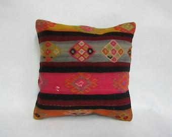 Turkish Handmade Kilim Pillow,16x16inches,40x40cm,Anatolian Turkish Tribal Kilim Pillow Cover