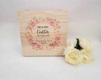 Gorgeous Wooden Wedding Memory / Card Box Personalised Gift