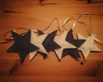 Bunting / garland - white and grey stars
