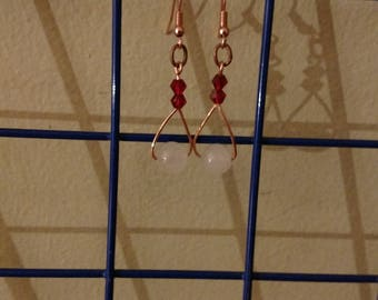 Quartz and Crystal Copper Earrings