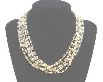 Vintage Multi Strand Baroque Style Pearl and Gold Bead Necklace