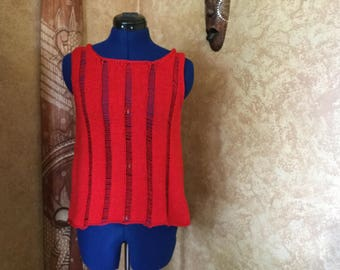Red Hand knit cotton tank