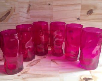 6 Magenta Swirl Glass Tumblers // Hot Pink or Magenta Glass Tumblers // 1970's