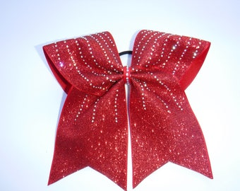 Red Glitter Cheer Bow with Rhinestones