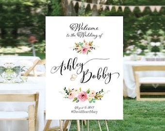 Bohemian Wedding Sign, Wedding Welcome Sign, Printable Wedding Sign, Welcome Wedding Sign, Floral Wedding Sign, wedding sign - US_WS1201