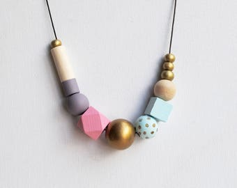 Chunky Handpainted Geometric Necklace, Boho necklace, Statement Necklace, Color block necklace, Handmade necklace, Wooden necklace