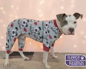 Dog Pajamas, Fleece Dog Pajamas, Dog PJs, Dog Jammies, Dog Pyjamas, Dog Clothes, Dog Clothing, Large Dog Clothes, Cute Dog Clothes, Pitbulls