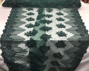 Bridal Beaded - Lace Fabric Hunter Green Embroidered Mesh Dress Flower-Floral Wedding Veil By The Yard