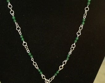 """30"""" Money necklace with jade (health, wealth, prosperity) beads."""