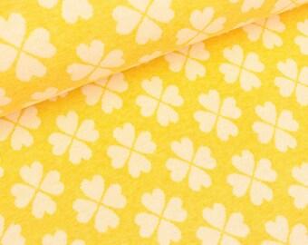 Hamburg love 2 color Jacquardjersey clover heart colza white (26.50 EUR / meter)