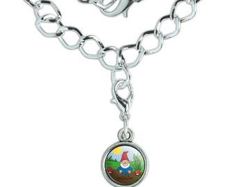 Garden Gnome with Toadstools Silver Plated Bracelet with Antiqued Charm