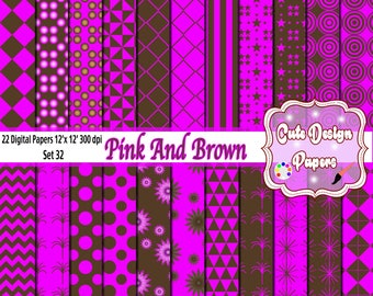 Pink and Brown Digital Papers 12 x 12 - Digital Scrapbook Papers - card design, invitations, background, web desig