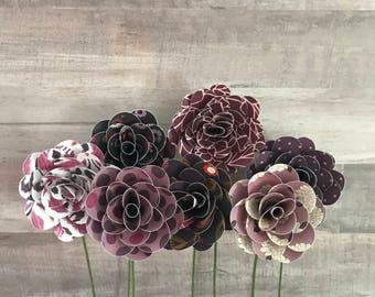 Paper Flower Bouquet, Flower Stems, Paper Flowers, Purple Flowers, Flower Bouquet, Flower Centerpiece, Flower Arrangement, Photo Prop