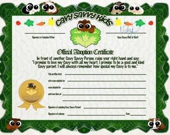 Guinea Pig Adoption certificate