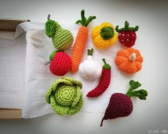 Crochet vegetables and fruit, crochet fruit, kitchen play set, crochet vegetables, play food set, pretend play, veggies play set