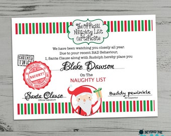 Personalised Naughty List Certificate - Naughty Letter From Santa - Warning From Santa