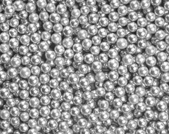 4mm Edible Silver Dragees, FDA approved dragees, edible silver sprinkles, silver sprinkles,Fancy Sprinkles, silver pearls, drageés