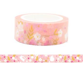 Rabbit in the Flower Land Washi Tape in Pink / White Flower Pattern Masking Tape
