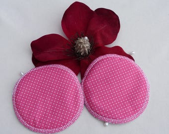 Reusable Pink With White Polka Dots Breast Pads. Breathable, Light, Non-slip, Heavy Absorbency Nursing Pads. *Ship Worldwide*.